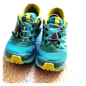 Blue hiking shoes